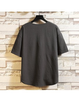 Mens Cotton Linen T-Shirt Vintage Patchwork Chinese Style Summer Linen Tee Shirt