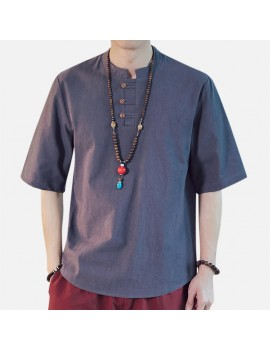 Mens Chinese Style Cotton Linen Short-sleeved T-shirts Vintage Breathable Tops