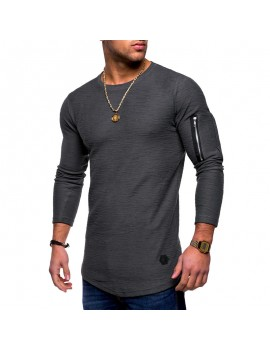 Mens Breathable Solid Color Irregular Hem Zipper O-neck Long Sleeve Slim Casual T Shirts