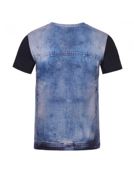 Mens Creative 3D Denim Jacket Printed Tops O-neck Short Sleeve Casual T-shirt