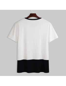 Mens 100% Cotton Breathable Contrast Color Short Sleeve Casual T-Shirts