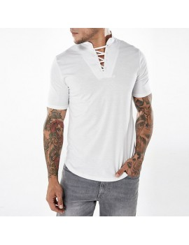 Mens Fashion Bust Bandages Tees V-neck Short Sleeve Regular Fit Casual Cotton T Shirts