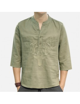 Men's Chinese Style T-shirt Summer Half-Sleeves V-neck Collar Embroidery Tops