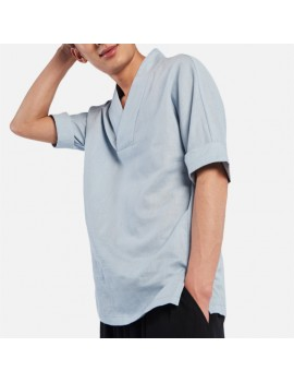 Men's Chinese Style Vintage Cotton Linen T-shirts V-neck Seven-point Sleeve Tops