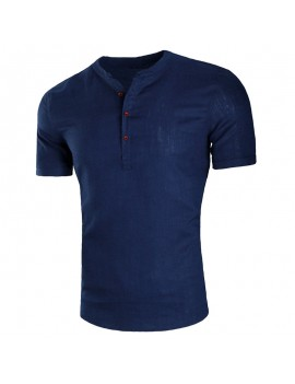 Mens Button Design T Shirts Stand Collar Solid Color Short Sleeve Casual Linen Tops