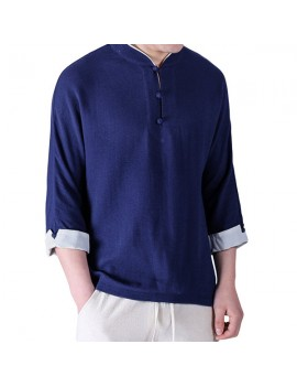 Mens Chinese Style Cotton Linen Retro Solid Color V Neck Summer Thin Archaic T Shirts