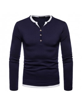 100% Cotton V-neck Long Sleeve Half Button Down T-shirt for Men