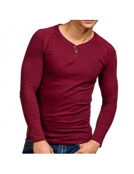 Mens 100%Cotton Breathable Cozy Solid Color Long Sleeve Slim Fit Casual Buttons T Shirts