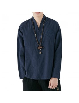 Mens Chinese Style Embroidery V-Neck Cotton T Shirts Casual Solid Color Long Sleeve Loose Tee Tops
