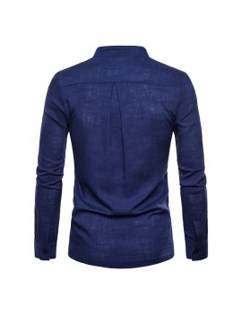 Mens Breathable Thin Stand Collar Solid Color Slim Fit Casual T Shirts