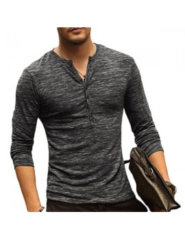 Mens Breathable Cotton Casual T shirt Buttons Design Half-cardigan Slim Fit Long Sleeve Tops