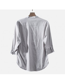 Mens Casual Cotton Half-Sleeves T-shirt Loose Breathable Tops