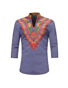 Mens African Ethnic Style 3D Printed Stand Collar 3/4 Sleeve Casual T Shirts