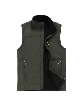 Mens Outdoor Fleece Lining Warm Waterproof Windproof Soft Shell Casual Vest