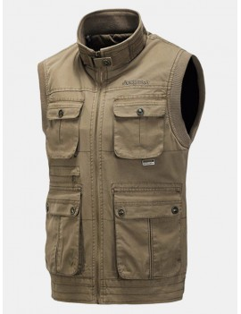 Fall Winter Outdoor Cotton Vest Casual Multi-pocket Fishing Waistcoat