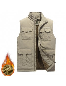 Men's Mutil-Pockets Outdoor Fishing Sleeveless Shearling Stand Collar Coat Thicken Fleece Vest