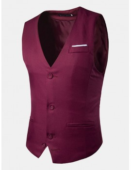 Fashion Business Casual Korean Style Pure Color Single Breasted Vest for Men