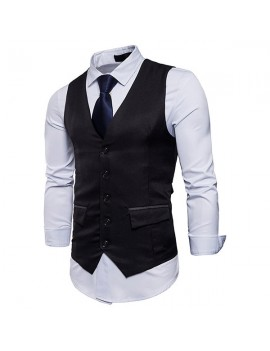 Men Casual Business Slim Fit Single Breasted Suit Vest