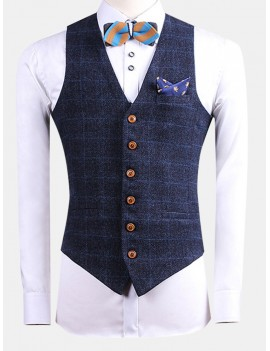 British Style Bussiness Casual Chest Single Pocket Checked Vest for Men