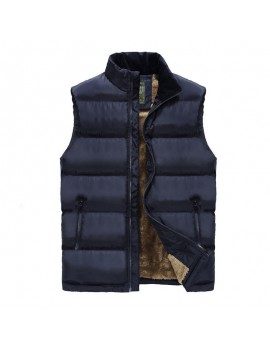 Men's Casual Thicken Plus Velvet Stand Collar Solid Color Down Vest