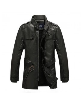 Mens Fashion Stand Collar Jacket PU Leather Fluffy Lined Warm Slim Fit Coat