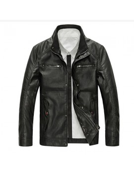 Motorcycle Style Outdoor PU Leather Multi Pockets Solid Color Jacket for Men