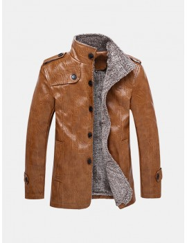 Plus Size Faux Leather Jacket Windproof Water Repellent Fleece Motorcycle Jacket for Men