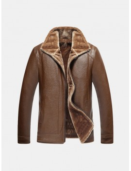 Mens Winter Washed PU Leather Fleece Lined Coat Thicken Warm Zipper Jacket