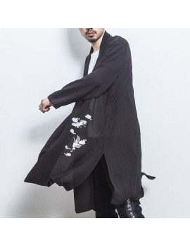 Mens Mid-long Crane Embroidered National Style Long Sleeve Open Up Black Casual Jacket