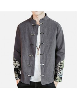 Mens National Style Coat Floral Printing Patchwork Linen Double Breasted Casual Jacket