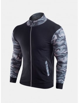 Fashion Military Camo Printing Outdoor Running Sport Patchwork Casual Jackets for Men