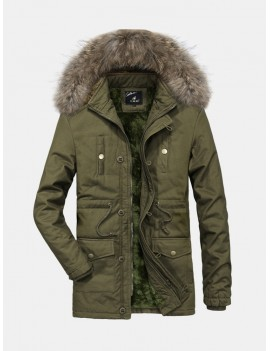 Casual Multi Pockets Warm Windproof Detachable Hooded Jacket for Men