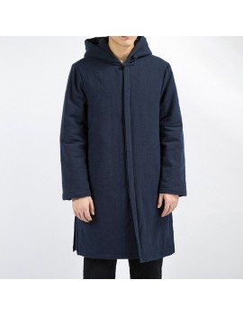 Mens National Cotton Linen Hooded Collar Solid Color Long Sleeve Thicken Coat Casual Midlong Jacket