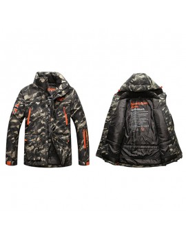 Mens Camo Printing Detachable Hooded Multi Pockets Outdoor Windproof Thickened Warm Jacket