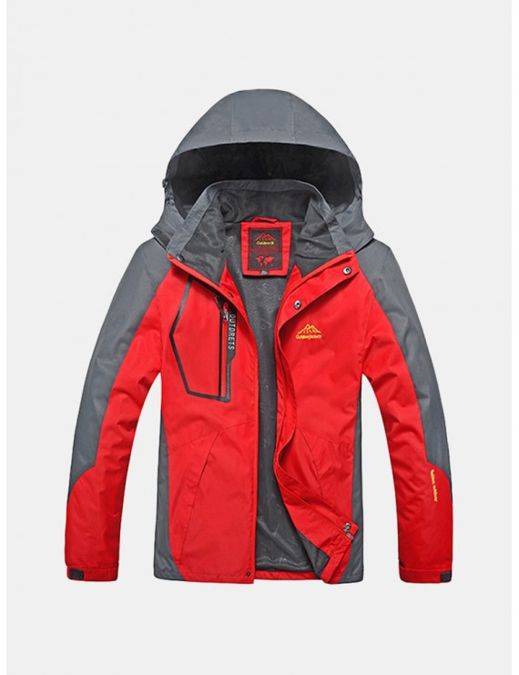 7XL Plus Size Outdoor Climbing Water Resistant Windproof Detachable Hood Jackets for Men