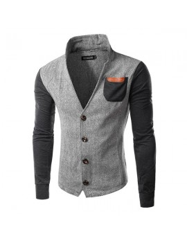 Casual Stylish Stand Collar Patchwork Chest Pockets Jackets for Men
