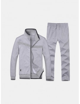 Mens Casual Sport Suits Solid Color Stand Collar Zip Up Hoodies Elastic Waist Joggers Sport Pants