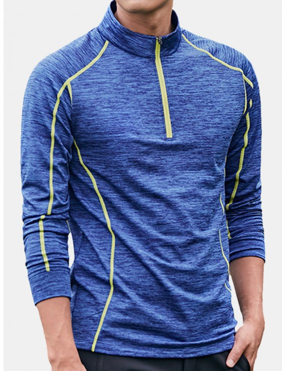 Men's Elastic Fitness T-Shirt Outdoor Running Fast Drying Tops Tight Shirt Long Sleeve T-Shirt