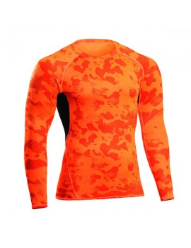 Mens Camo Traning Elastic Quick-drying Breathable Sports Fitness Tights Long Sleeve T-shirt