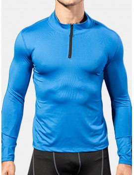 Men Thick Velvet Long Sleeve Running Collar Half Zip Quick Dry Sport Solid Color T-shirt Tops