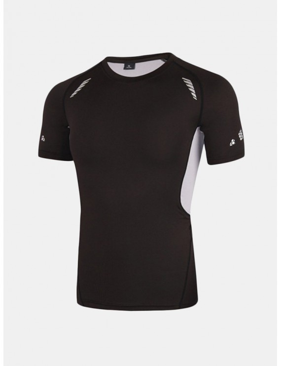 Men Breathable Quick-drying Sports Tights Tops Running Fitness Short-sleeved Bodybuilding T-shirt