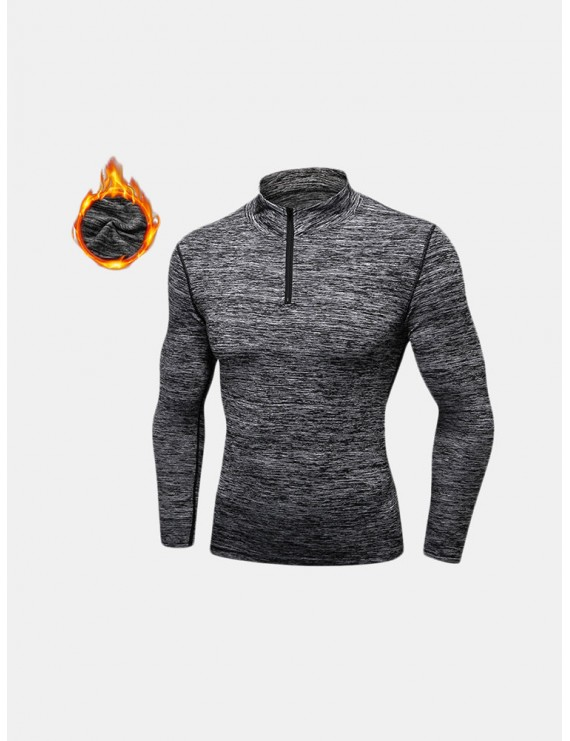 Men Fleece Long Sleeve Running Collar Half Zip Quick Dry Sport Solid Color T-shirt Tops