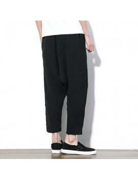 Mens Chinese Style Linen Harem Pants Elastic Waist Solid Color Loose Casual Pants