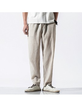 Mens Chinese Style Retro Casual Pants Cotton Linen Loose Beathable Pants