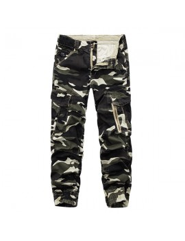 Mens Camouflage Multi Pockets Casual Cotton Cargo Pants Overalls