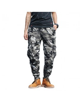 Mens Camouflage Multi-pocket Slim Fit Casual Cotton Cargo Pants