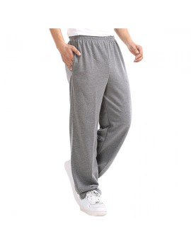 Casual Loose Cotton Straight Leg Fleece Thick Bodybuilding Sport Pants For Men
