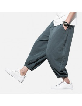Mens Baggy Pants Streetwear Loose Cotton Linen Harm Pants Chinese Style Trousers