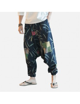 Mens Casual Cotton Linen Loose Pants Chinese Style Smock Waist Solid Wide Legs Trousers