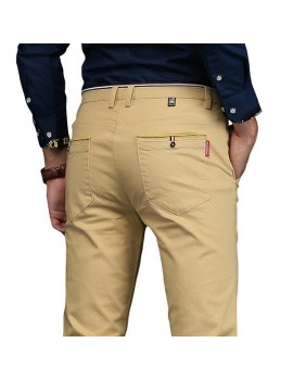Mens Brief Style Breathable Elastic Slim Fit Casual Business Straight Pants